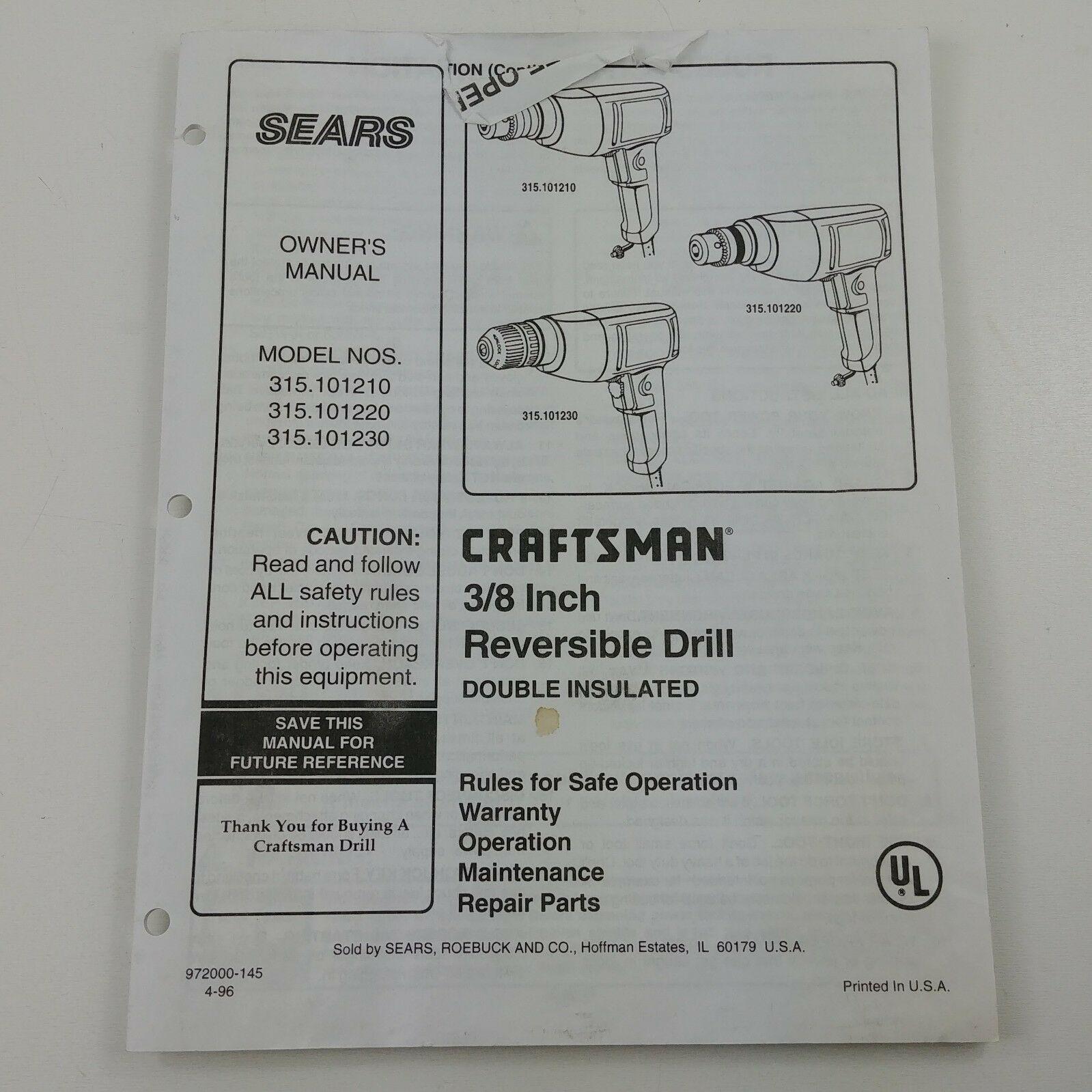 craftsman 315 user manual