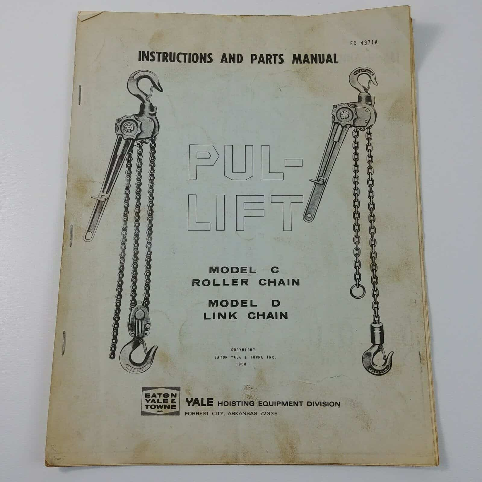 hight resolution of instructions parts manual lift model c roller chain