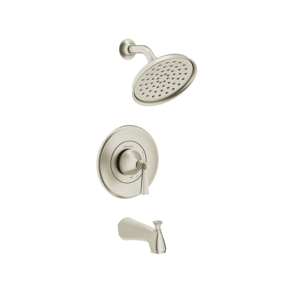 american standard 7417502 295 rumson single handle 1 spray tub and shower faucet with 1 8 gpm in brushed nickel valve included