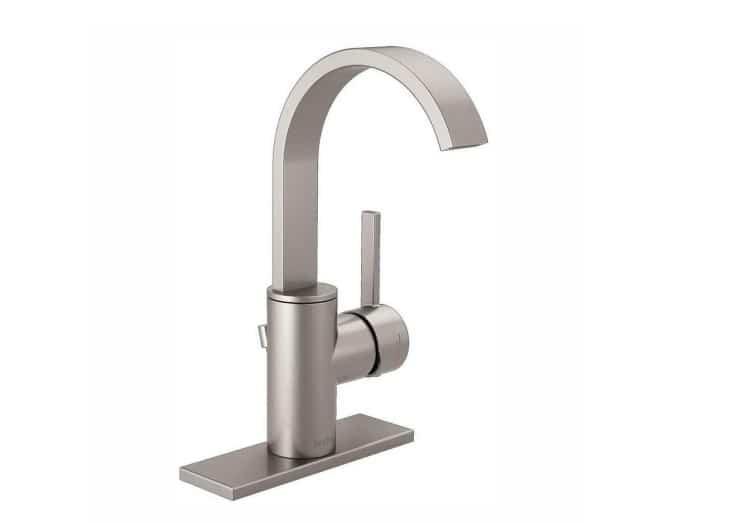 delta mandolin 15630lf sp single hole single handle bathroom faucet in spotshield brushed nickel
