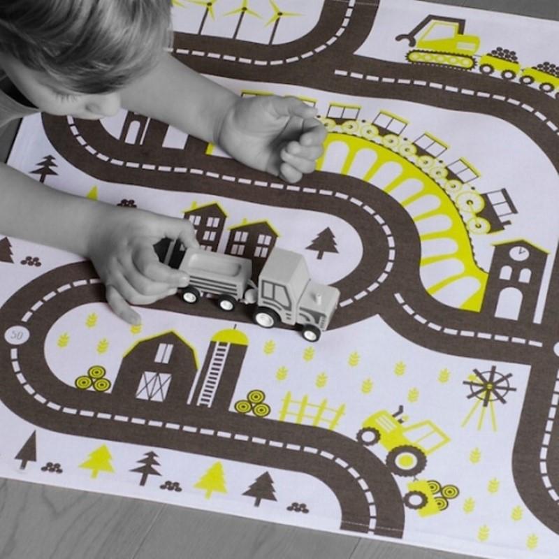 tapis de jeu bio pour petites voitures country