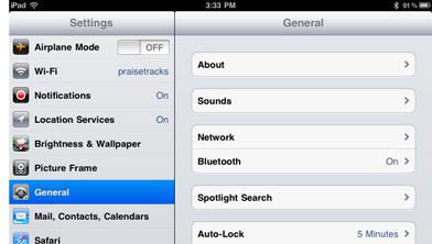 iPad General Settings