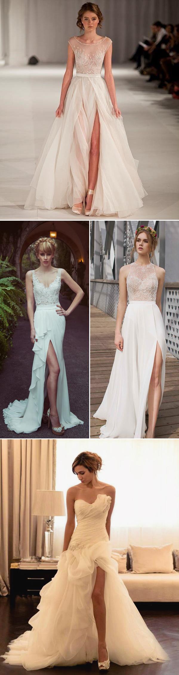 24 FashionForward High Slit Wedding Dresses  Praise Wedding
