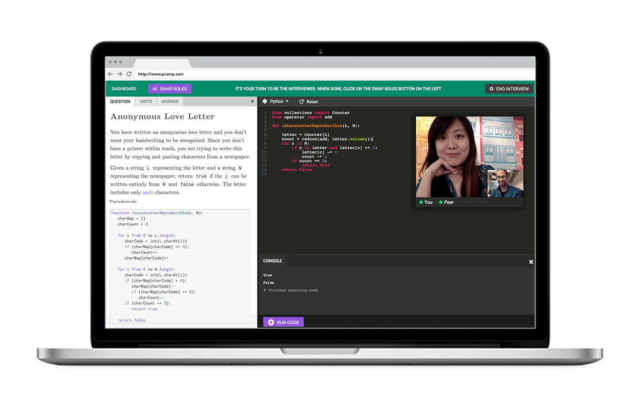 hight resolution of pramp coding interview