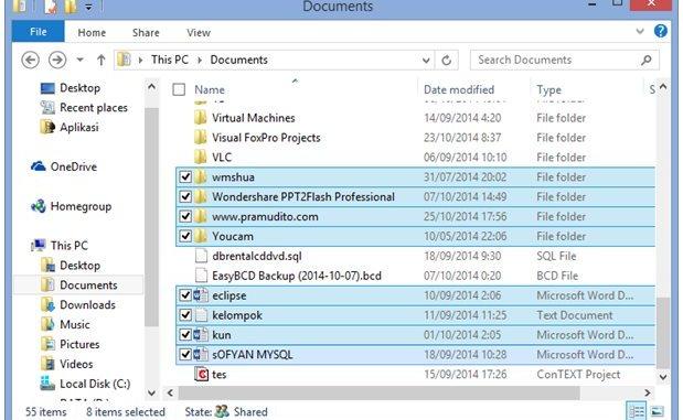 Tanda Centang di Windows Explorer