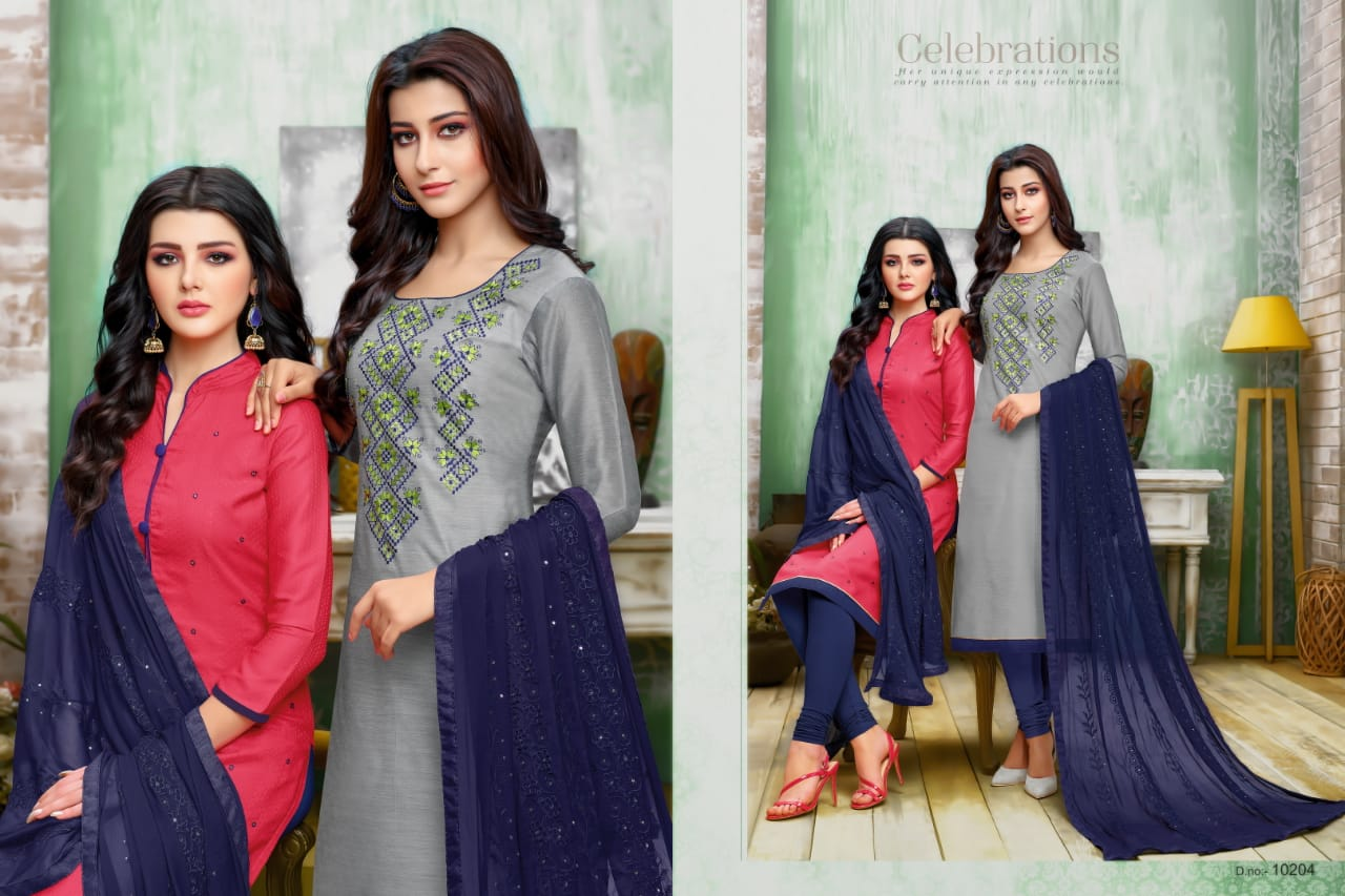 322f9f0766 ... chanderi Two top Salwar suits collection Wholesale shopping from surat.  DOWNLOAD ZIP