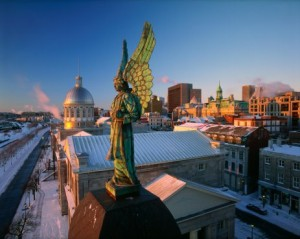 Old Montreal from Notre-Dame-de Bonsecours Chapel at Sunrise, Montreal, Quebec