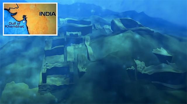 Indien: Golf von Khambhat – Unterwasser-Ruinen einer untergegangenen ...