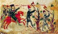 """Imp. Frederico I Barbarossa nella terza crociata. Miniatura dal poema di Petra da Eboli """"Book nell"""