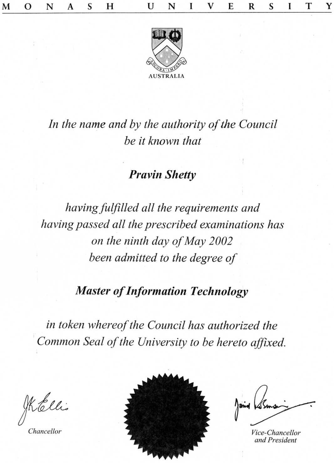 resume of information technology graduate