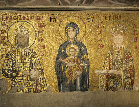 Emperor John II Comnenus and Empress Irina, before the Mother of God and Infant. Hagia Sophia.