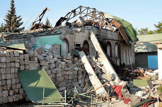 Растрелянный храм в Кировском. Фото: пресс-служба Горловской и Славянской епархии