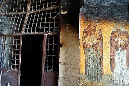 Манастир Св. Текле у Малули, који је пострадао у сукобима између сиријске армије и побуњеника