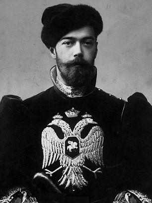 Tsar Nicholas II, bearing the Imperial coat of arms of the double-headed eagle, representing the