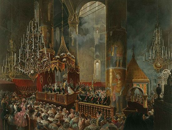 Crowning of Empress Maria Alexandrovna by Emperor Alexander II, 1856 – Coronation Book of 1856.