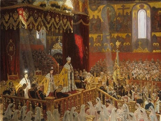 Laurits Tuxen's 1898 Coronation Portrait of Nicholas II, Dowager Empress Maria Feodorovna, and Empress Consort Alexandra Feodorovna (May 1896, Dormition Cathedral, Moscow Kremlin).