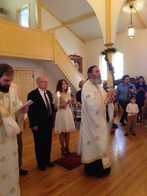 Isaac's and Marilyn's wedding ceremony in the Holy Resurrection Orthodox Church, Boston.