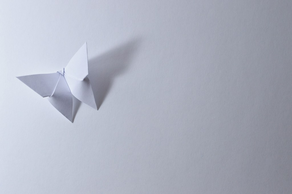 butterfly origami white paper