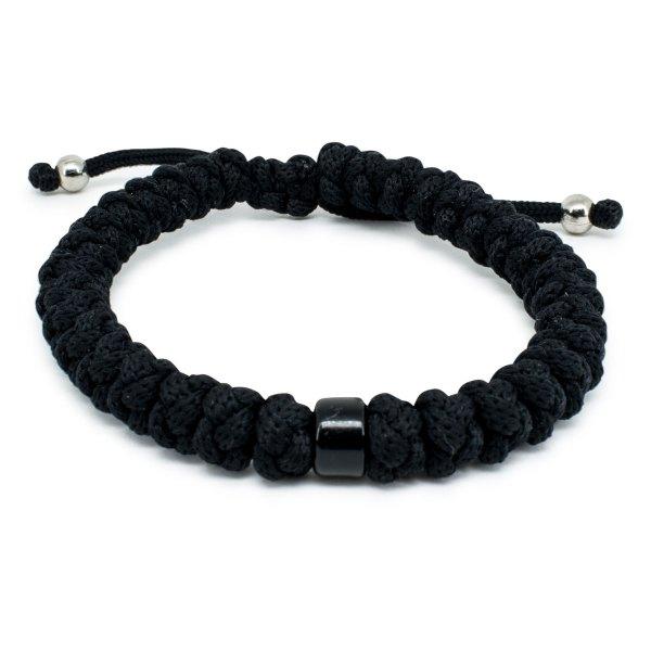 Prächtiges verstellbares Schwarze orthodox Knoten Armband mit Perle
