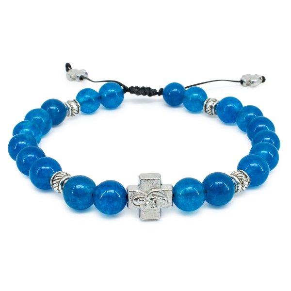 "Blue Jade Stone Prayer Bracelet ""Bluemoon""-0"