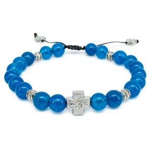 "Blue Jade Stone Prayer Bracelet ""Bluemoon""-0"