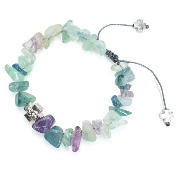 Compelling Fluorite Stone Chips Prayer Bracelet