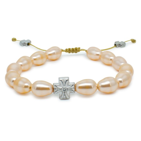 Peach Swarovski Teardrop Pearl Prayer Bracelet