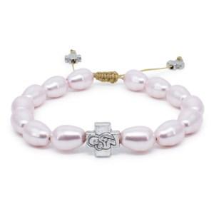 Pink Swarovski Teardrop Pearl Prayer Bracelet-0