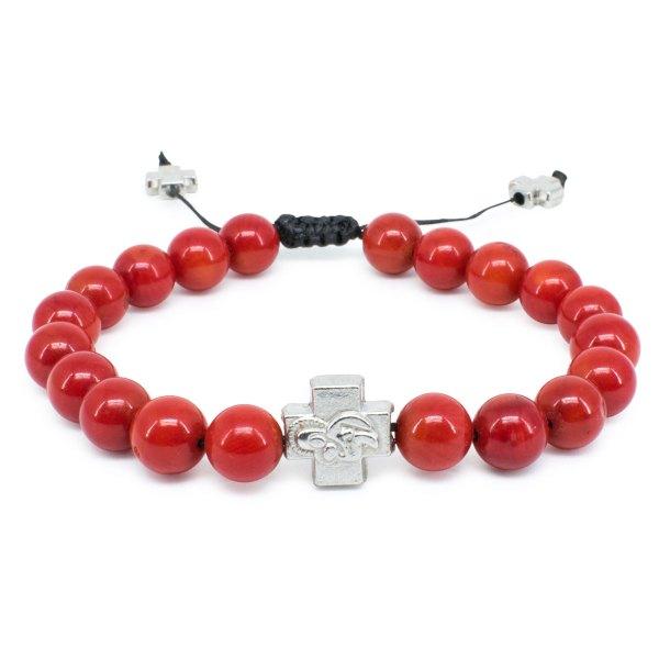 Red Coral Stone Prayer Bracelet-0