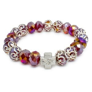 "Red Glass Prayer Bracelet ""Sara""-0"