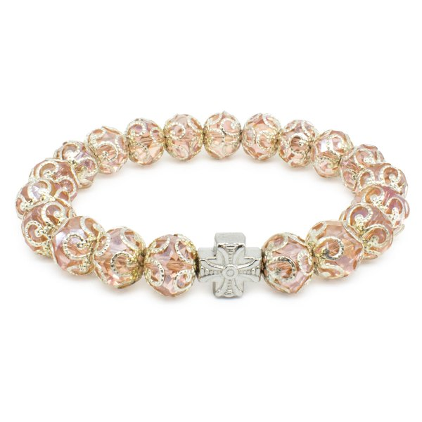 "Eklatantes orthodox Armband aus Rose Glasperlen ""Petra"""