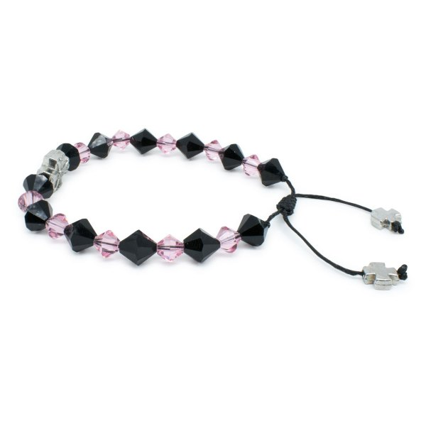"Swarovski Crystal Prayer Bracelet ""Black Velvet""-447"