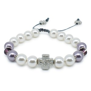"Swarovski Pearl and Crystal Prayer Bracelet ""Elena""-0"