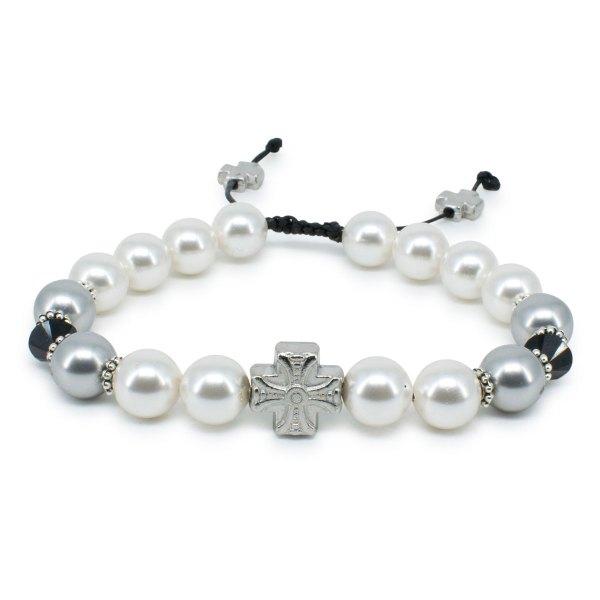 "Chic Swarovski Pearl and Crystal Prayer Bracelet ""Magdalena"""