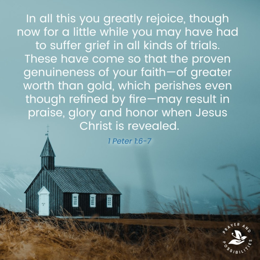 In all this you greatly rejoice, though now for a little while you may have had to suffer grief in all kinds of trials. These have come so that the proven genuineness of your faith—of greater worth than gold, which perishes even though refined by fire—may result in praise, glory and honor when Jesus Christ is revealed. (1 Peter 1:6-7)