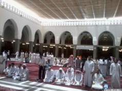 some people are praying in Quba Masjid in Madinah.