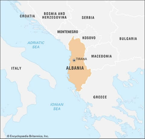 praying for Albania: map
