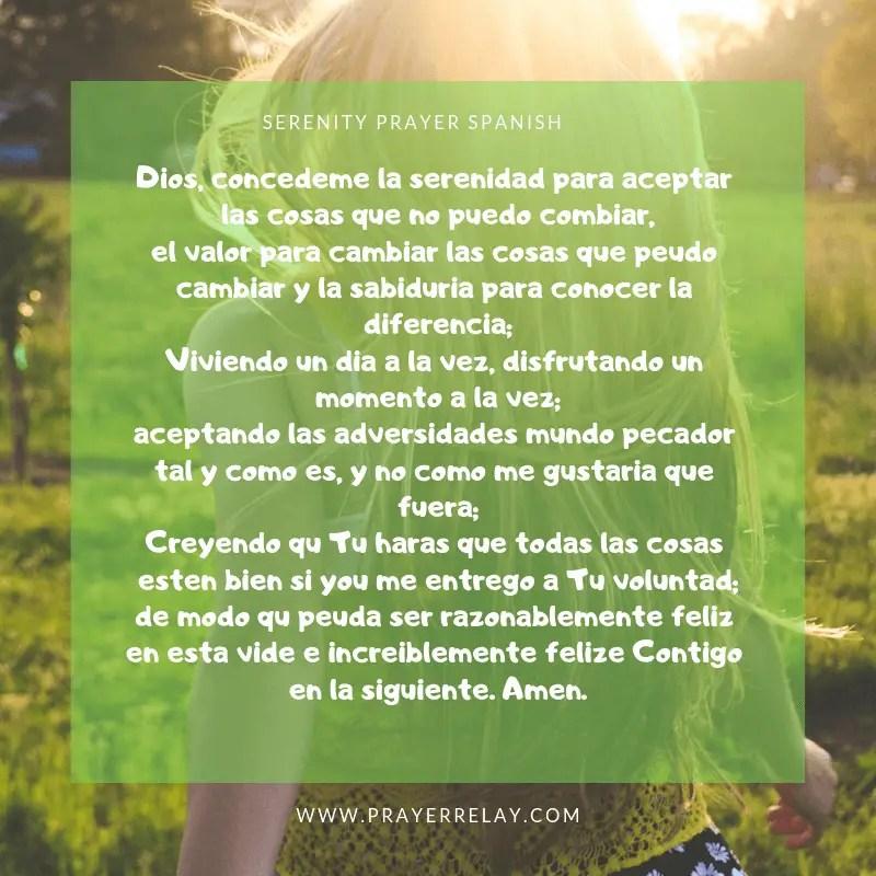 SERENITY PRAYER Spanish