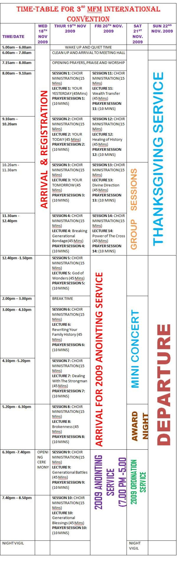 Time Table for 3rd MFM International Convention