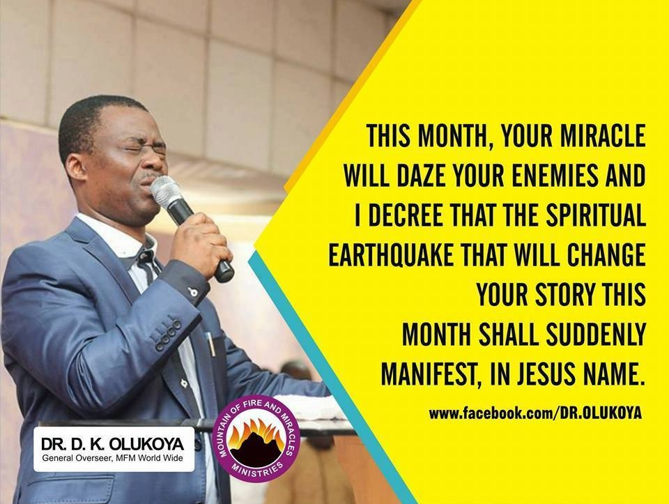 HAPPY NEW MONTH FROM DR. D. K. OLUKOYA