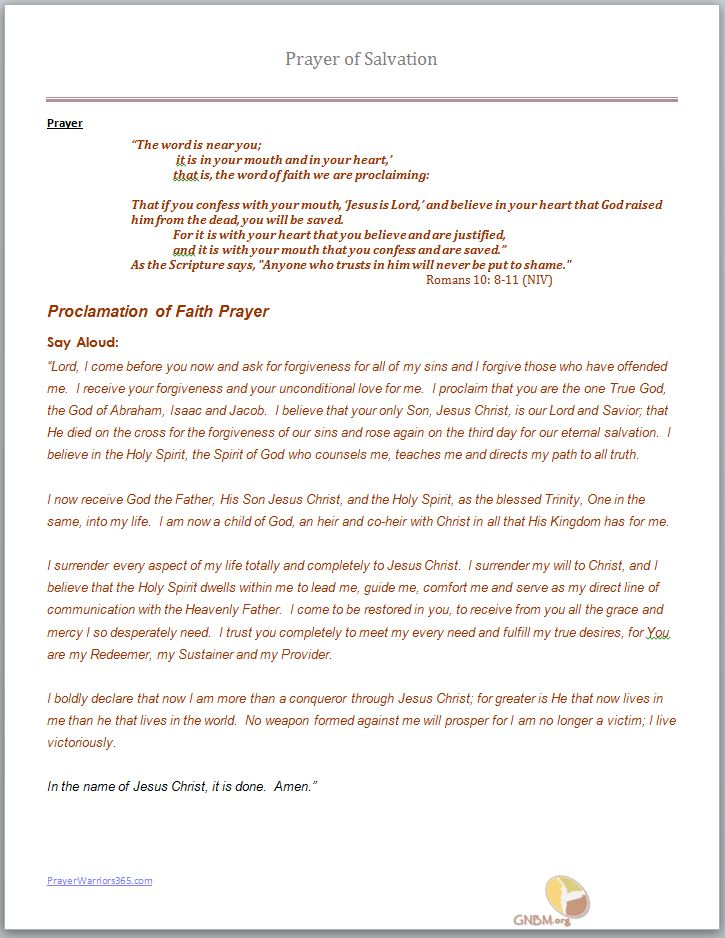 Prayer of Salvation - Proclamation of Faith