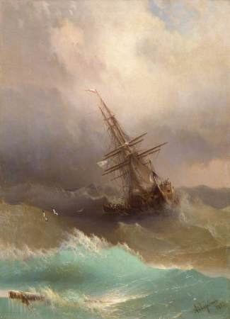 Ship in the Stormy Sea, by Ivan Konstantinovich Aivazovsky, 1887