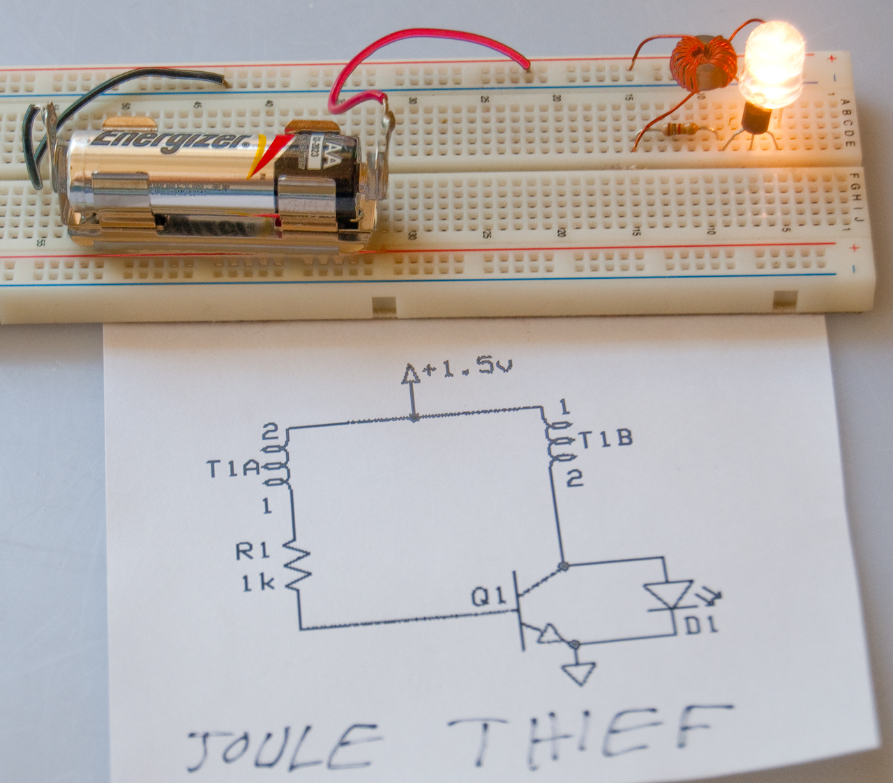 hight resolution of joule thief on prototype board