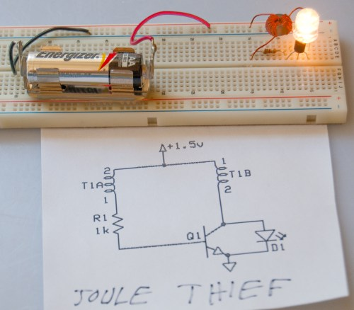 small resolution of joule thief on prototype board