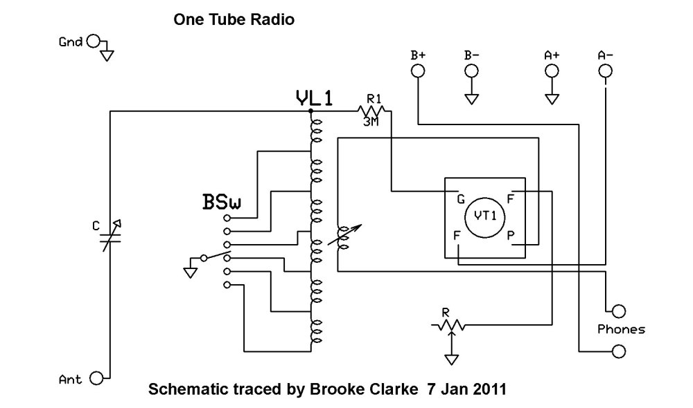 medium resolution of one tube radio schematic