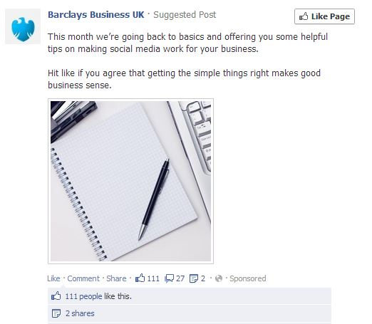 Barclays bank facebook camapign