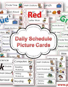 Printable picture schedule cards for preschool and kindergarten via pre kpages also rh