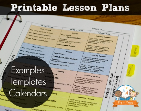 Printable Lesson Plans For Preschool Pre K And