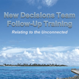 New Decisions Team training plan