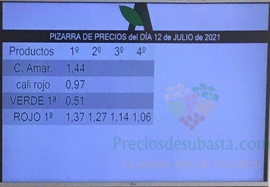 Subasta hortofrutícola Agrodolores El Mirador 12 de julio 2021